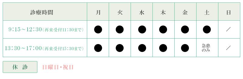奥村日田病院の診療時間